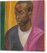 Man With Crimson Drapery Wood Print