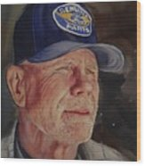 Man With Ford Cap Wood Print