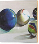 Man With Glass Balls  Wood Print