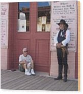Man With His Dog Re-enactor Birdcage Theater Tombstone Arizona 2004 Wood Print