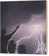 Man With Lightning, Arizona Wood Print
