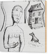 Man With Puppy  Wood Print