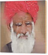 Man With Red Headwrap Wood Print