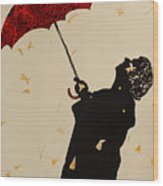 Man With Red Umbrella    Wood Print