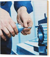 Man Working On Drilling And Boring Machine Wood Print