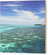 Mana Island Waters Wood Print