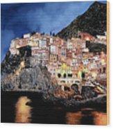 Manarola Di Notte Wood Print