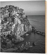 Manarola Dusk Cinque Terre Italy Bw Wood Print