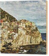 Manarola In The Sun - Vintage Version Wood Print
