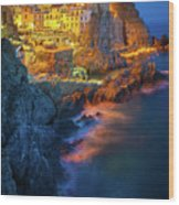 Manarola Lights Wood Print