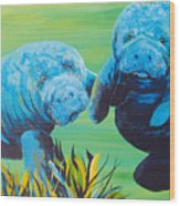 Manatee Love Wood Print