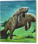 Manatee Mother And Young Wood Print