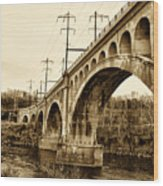 Manayunk Bridge Across The Schuylkill River In Sepia Wood Print