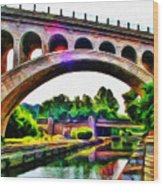 Manayunk Canal And Bridge Wood Print by Bill Cannon