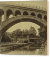 Manayunk Canal In Sepia Wood Print