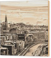 Manayunk In March - Canal View In Sepia Wood Print
