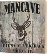 Mancave Deer Rack Wood Print