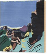 Manchuria And The Great Wall Vintage Poster Restored Wood Print