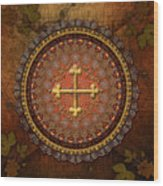 Mandala Armenian Cross Wood Print by Bedros Awak