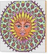 Peacock Sunburst Wood Print