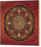 Mandala Flames Sp Wood Print by Bedros Awak