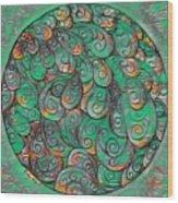 Mandala In Green Wood Print