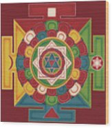 Mandala of the 5 Elements Earth-Water-Fire-Air-Space Wood Print