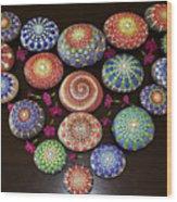 Mandala Stones Heart Wood Print