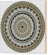 Black And Gold Mandala Wood Print