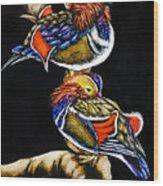 Mandarin Ducks - Sa106 Wood Print