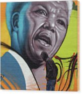 Mandela Watching Wood Print