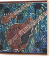 Mandolin - Bordered Wood Print