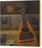 Mandolin And Suitcases Wood Print