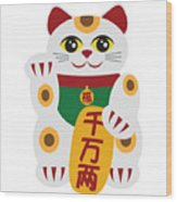 Maneki Neko Beckoning Cat Illustration Wood Print