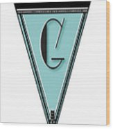 Pennant Deco Blues Banner Initial Letter G Wood Print