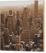 Manhattan Aerial Sepia Wood Print