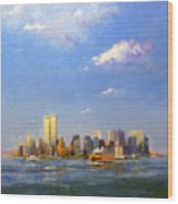 Manhattan And Twin Towers From New York Harbor Wood Print
