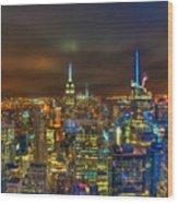 Manhattan At Night 355 Wood Print