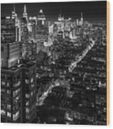 Manhattan At Night Wood Print