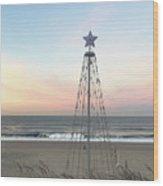 Manhattan Beach Christmas Star Wood Print