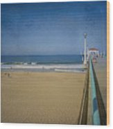 Manhattan Beach Pier Back Then Wood Print