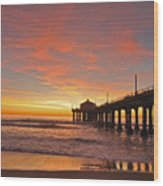 Manhattan Beach Sunset Wood Print by Matt MacMillan