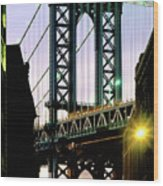 Manhattan Bridge And Empire State Building Wood Print