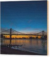 Manhattan Bridge At Dawn Wood Print