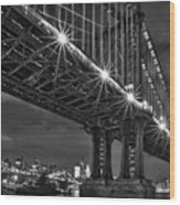 Manhattan Bridge Frames The Brooklyn Bridge Wood Print by Susan Candelario