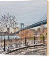Manhattan Bridge From Brooklyn Bridge Park Wood Print