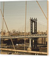 Manhattan Bridge From The Brooklyn Bridge  Wood Print