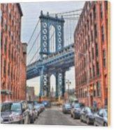 Manhattan Bridge Landscape From Dumbo Wood Print