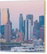 Manhattan Cruise Terminal And Skyline Wood Print