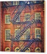 Manhattan Facade Wood Print